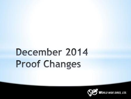 December 2014 Proof Changes