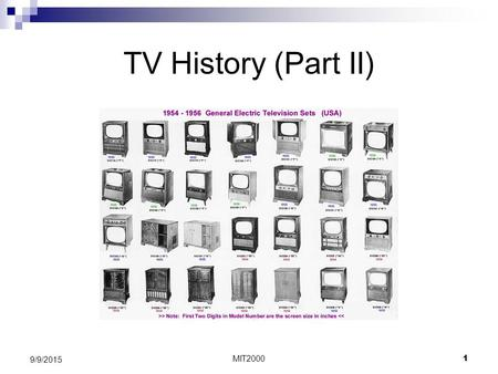 MIT2000 1 9/9/2015 TV History (Part II). MIT2000 2 9/9/2015 Television in Canada 1. No TV stations pre: 1952 1. 100,000+ watching US TV 2. Business complaints.