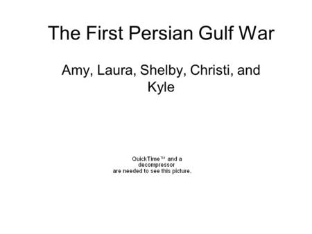 The First Persian Gulf War