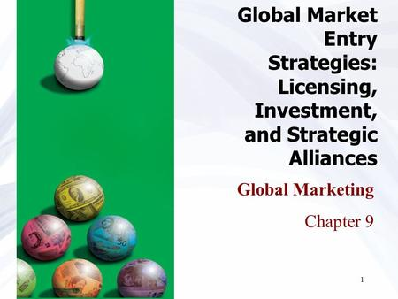 1 Global Marketing Chapter 9 Global Market Entry Strategies: Licensing, Investment, and Strategic Alliances.