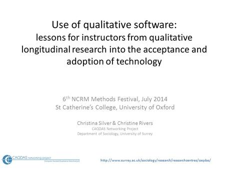 Use of qualitative software: lessons for instructors from qualitative longitudinal research.