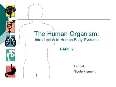 The Human Organism: Introduction to Human Body Systems PART 2 TPJ 3M Nicole Klement.