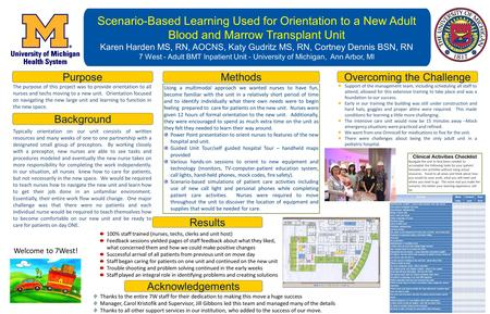 Scenario-Based Learning Used for Orientation to a New Adult Blood and Marrow Transplant Unit Karen Harden MS, RN, AOCNS, Katy Gudritz MS, RN, Cortney Dennis.