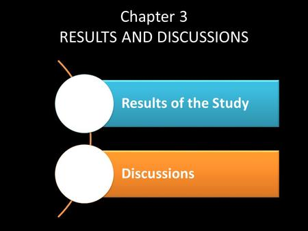Chapter 3 RESULTS AND DISCUSSIONS Results of the Study Discussions.