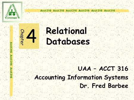 Acct 316 Acct 316 Acct 316 Relational Databases 4 UAA – ACCT 316 Accounting Information Systems Dr. Fred Barbee Chapter.