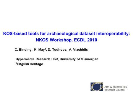 KOS-based tools for archaeological dataset interoperability: NKOS Workshop, ECDL 2010 C. Binding, K. May 1, D. Tudhope, A. Vlachidis Hypermedia Research.