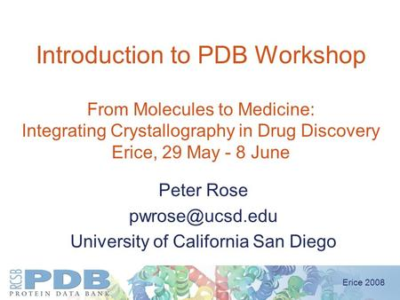 Erice 2008 Introduction to PDB Workshop From Molecules to Medicine: Integrating Crystallography in Drug Discovery Erice, 29 May - 8 June Peter Rose