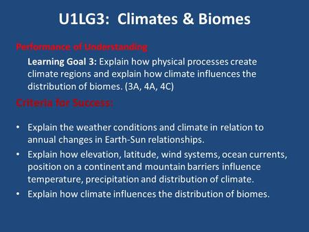 U1LG3: Climates & Biomes Performance of Understanding Learning Goal 3: Explain how physical processes create climate regions and explain how climate influences.