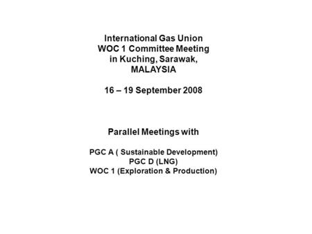 International Gas Union WOC 1 Committee Meeting in Kuching, Sarawak, MALAYSIA 16 – 19 September 2008 Parallel Meetings with PGC A ( Sustainable Development)