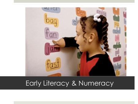 Early Literacy & Numeracy. WHY this goal? Root Cause Analysis: 1.No connection to AEA Vision 2.No action plan 2. No clear expectation/accountability.