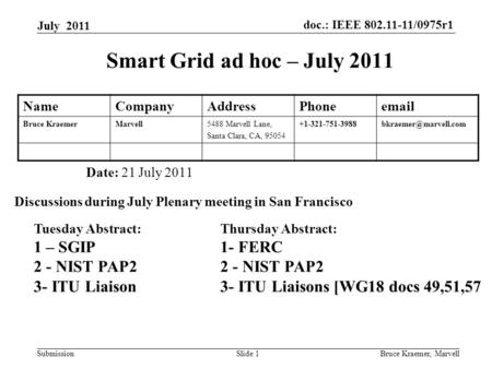 Doc.: IEEE 802.11-11/0975r1 Submission July 2011 Bruce Kraemer, MarvellSlide 1 Smart Grid ad hoc – July 2011 Date: 21 July 2011 Discussions during July.