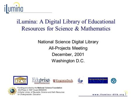W w w. i l u m i n a – d l i b. o r g iLumina: A Digital Library of Educational Resources for Science & Mathematics National Science Digital Library All-Projects.