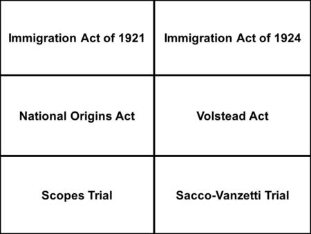 Immigration Act of 1921Immigration Act of 1924 National Origins ActVolstead Act Scopes TrialSacco-Vanzetti Trial.