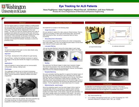Abstract Some Examples The Eye tracker project is a research initiative to enable people, who are suffering from Amyotrophic Lateral Sclerosis (ALS), to.