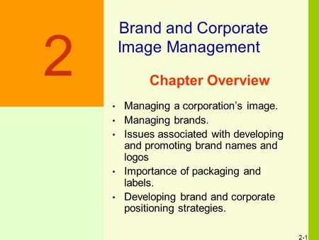 2 Brand and Corporate Image Management Chapter Overview