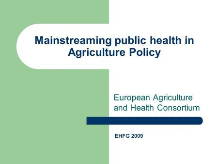 European Agriculture and Health Consortium Mainstreaming public health in Agriculture Policy EHFG 2009.