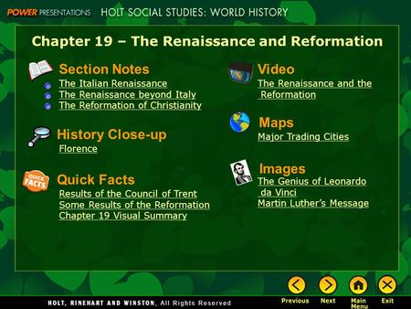 Chapter 19 – The Renaissance and Reformation