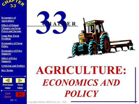 33 - 1 Copyright McGraw-Hill/Irwin, Inc. 2005 Economics of Agriculture Effect of Output Changes on Farm Prices and Income Long-Run Farm Problem Economics.