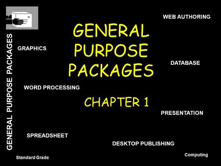GENERAL PURPOSE PACKAGES Standard Grade Computing GENERAL PURPOSE PACKAGES CHAPTER 1 WORD PROCESSING DATABASE SPREADSHEET GRAPHICS PRESENTATION WEB AUTHORING.