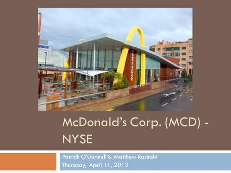 Mcdonalds corporation mcd essay