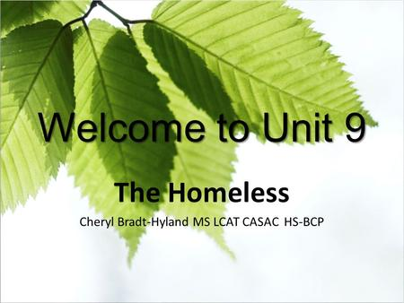 Welcome to Unit 9 The Homeless Cheryl Bradt-Hyland MS LCAT CASAC HS-BCP.