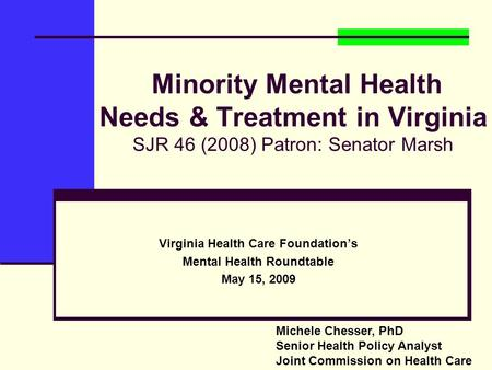 Virginia Health Care Foundation's Mental Health Roundtable