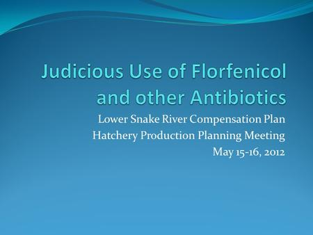 Lower Snake River Compensation Plan Hatchery Production Planning Meeting May 15-16, 2012.