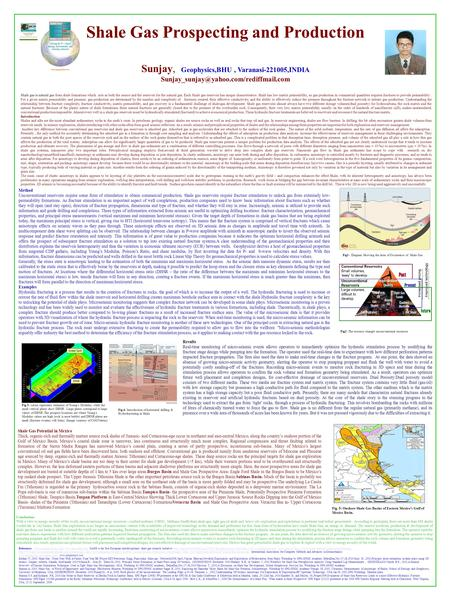Shale Gas Prospecting and Production Sunjay, Geophysics,BHU, Varanasi-221005,INDIA Shale gas is natural gas from.