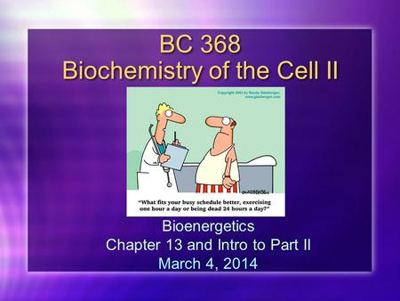 BC 368 Biochemistry of the Cell II Bioenergetics Chapter 13 and Intro to Part II March 4, 2014.
