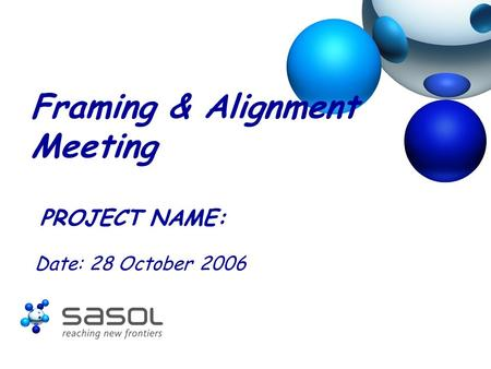 Framing & Alignment Meeting PROJECT NAME: Date: 28 October 2006.