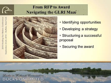 From RFP to Award Navigating the GLRI Maze  Identifying opportunities  Developing a strategy  Structuring a successful proposal  Securing the award.
