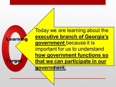 Learning Target Today we are learning about the executive branch of Georgia's government because it is important for us to understand how government functions.