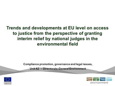 Trends and developments at EU level on access to justice from the perspective of granting interim relief by national judges in the environmental field.