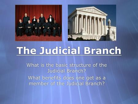 The Judicial Branch What is the basic structure of the Judicial Branch? What benefits does one get as a member of the Judicial Branch? What is the basic.