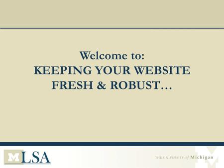 Welcome to: KEEPING YOUR WEBSITE FRESH & ROBUST….