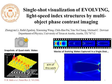 Single-shot visualization of EVOLVING, light-speed index structures by multi- object phase contrast imaging Zhengyan Li, Rafal Zgadzaj, Xiaoming Wang,