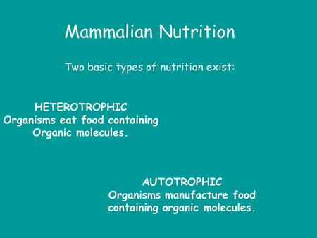 Mammalian Nutrition Two basic types of nutrition exist: HETEROTROPHIC Organisms eat food containing Organic molecules. AUTOTROPHIC Organisms manufacture.