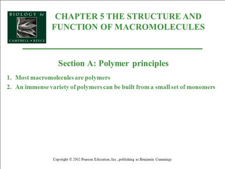 CHAPTER 5 THE STRUCTURE AND FUNCTION OF MACROMOLECULES Copyright © 2002 Pearson Education, Inc., publishing as Benjamin Cummings Section A: Polymer principles.