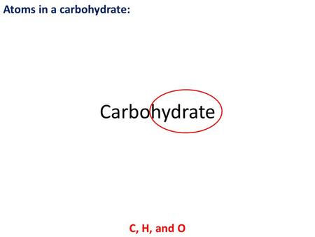Atoms in a carbohydrate: C, H, and O Carbohydrate.