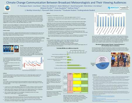 Climate Change Communication Between Broadcast Meteorologists and Their Viewing Audiences P. Thompson Davis 1, Lisa Doner 2, Mary Ann McGarry 2, Helen.