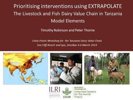 Prioritising interventions using EXTRAPOLATE The Livestock and Fish Dairy Value Chain in Tanzania Model Elements Entry Points Workshop for the Tanzania.