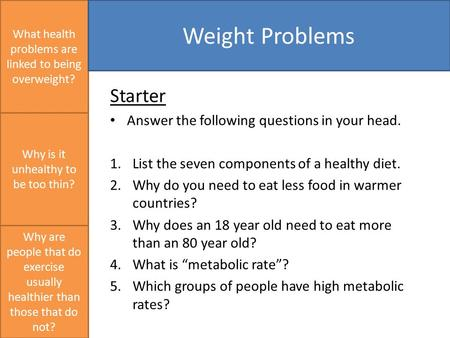 Starter Answer the following questions in your head. 1.List the seven components of a healthy diet. 2.Why do you need to eat less food in warmer countries?