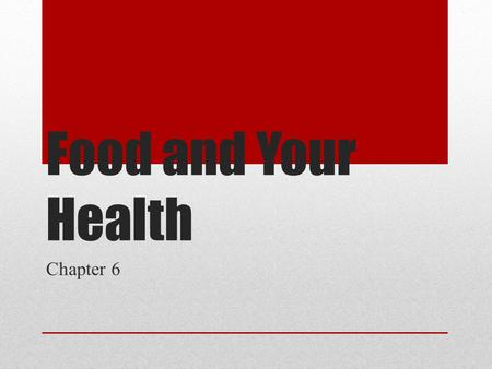 Food and Your Health Chapter 6. Managing your Weight Burn more calories than you eat (3,500 calories = 1 lbs) Overweight = more than 10% over standard.