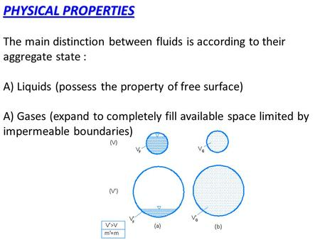 PHYSICAL PROPERTIES The main distinction between fluids is according to their aggregate state : A) Liquids (possess the property of free surface) A) Gases.