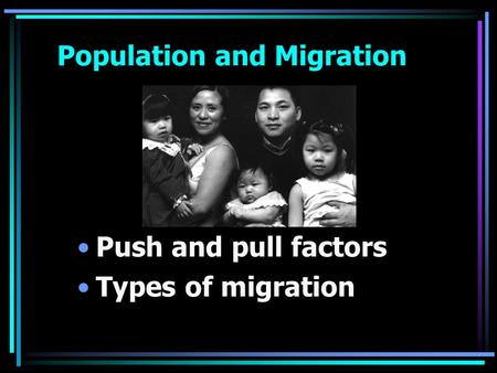 Population and Migration Push and pull factors Types of migration.