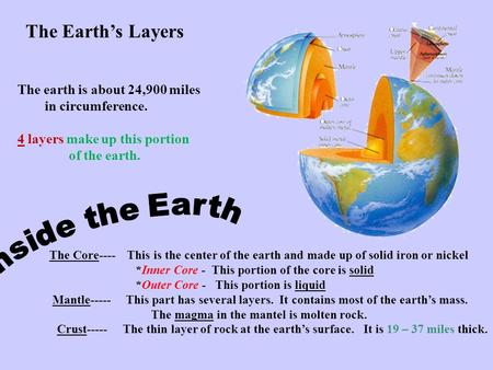 The Earth's Layers The earth is about 24,900 miles in circumference.