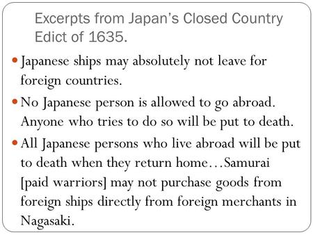 Excerpts from Japan's Closed Country Edict of 1635.