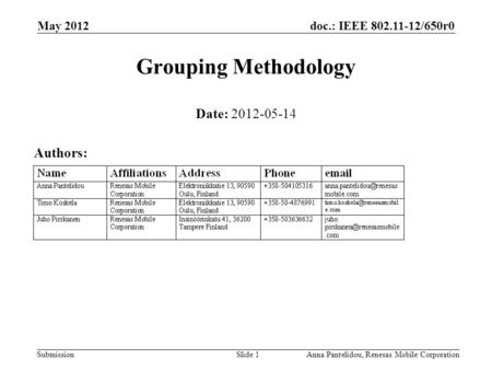 Doc.: IEEE 802.11-12/650r0 Submission May 2012 Anna Pantelidou, Renesas Mobile CorporationSlide 1 Grouping Methodology Date: 2012-05-14 Authors: