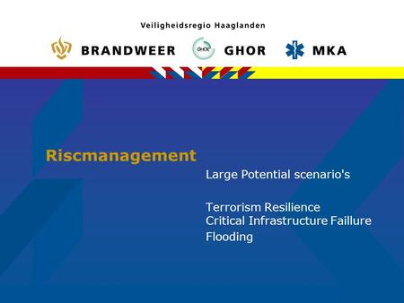 Riscmanagement Large Potential scenario's Terrorism Resilience Critical Infrastructure Faillure Flooding.
