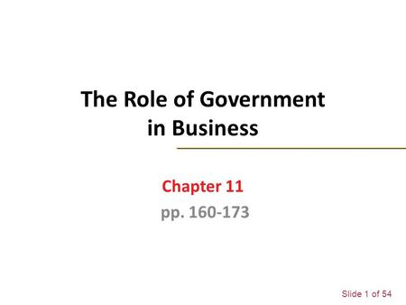 Slide 1 of 54 The Role of Government in Business Chapter 11 pp. 160-173.